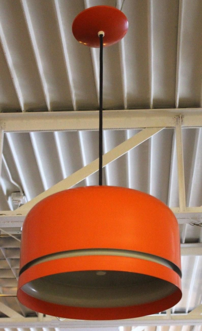 Mid Century Modern Orange Lightolier Chandelier Hanging