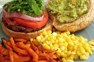 V e g a n D a d: Black Bean Burgers with Roasted Corn Guacamole and Sweet Potato Fries