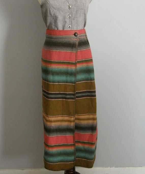 Vintage 80s/90s Mexican blanket wrap skirt by ManinthePaperMoon
