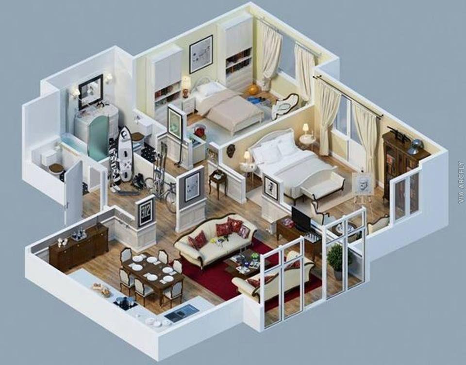 Dekorasi Rumah Minimalist 50 Denah Rumah Minimalis 3d 3 Kamar Tidur 2 Lantai Dan 2 Kamar Tidur Denah Rumah Rumah Denah Lantai