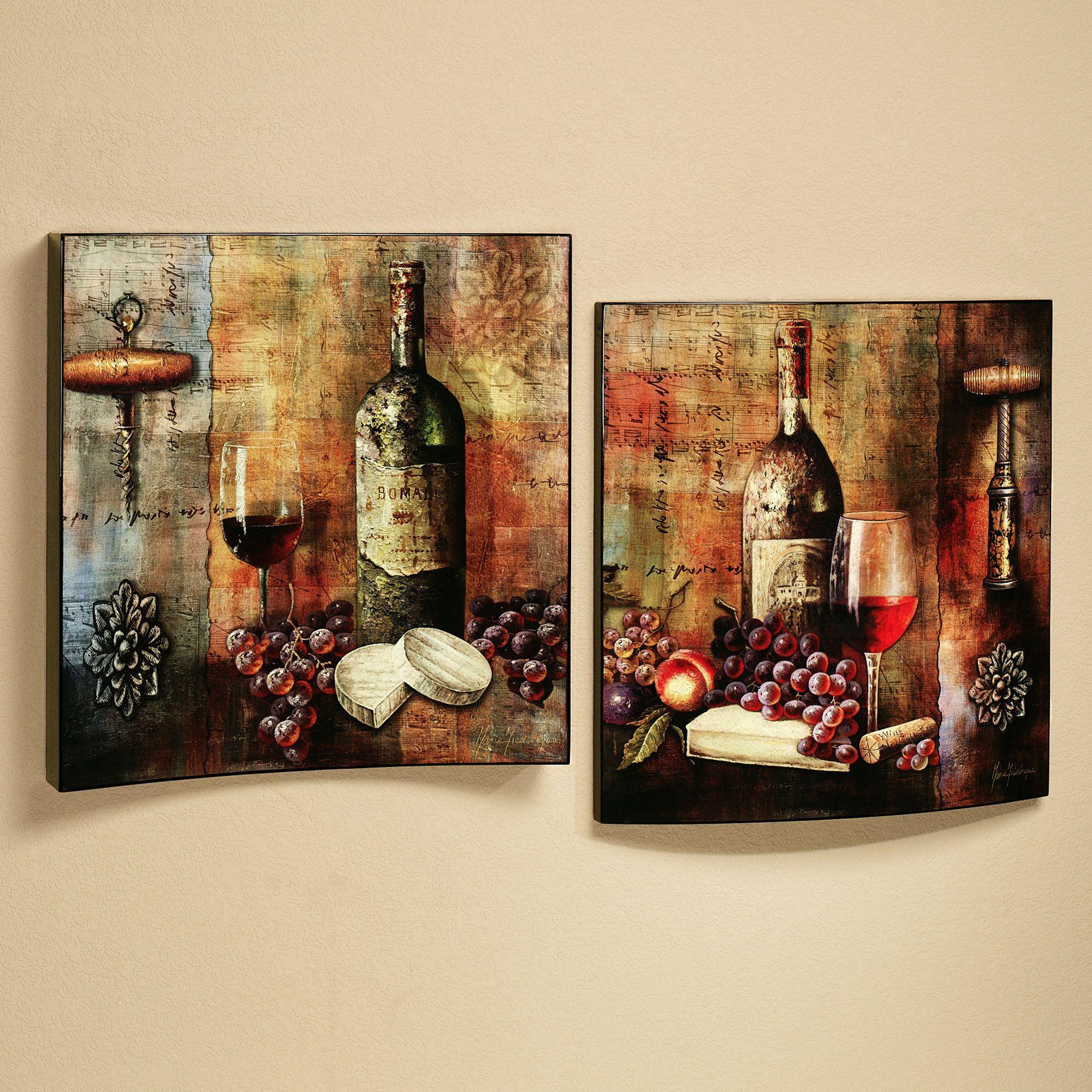 Vineyard Wine Wall Art Set Grape Kitchen Decor Wine Decor