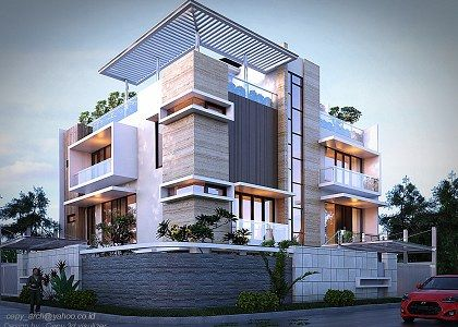 3D models - HOUSES - VILLAS - MODERN TWO FAMILY HOUSE - by ...