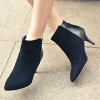 AISIMI 2015 Motorcycle boots new arrival high quality women ankle boots genuine leather thin high heels winter keep warm shoes