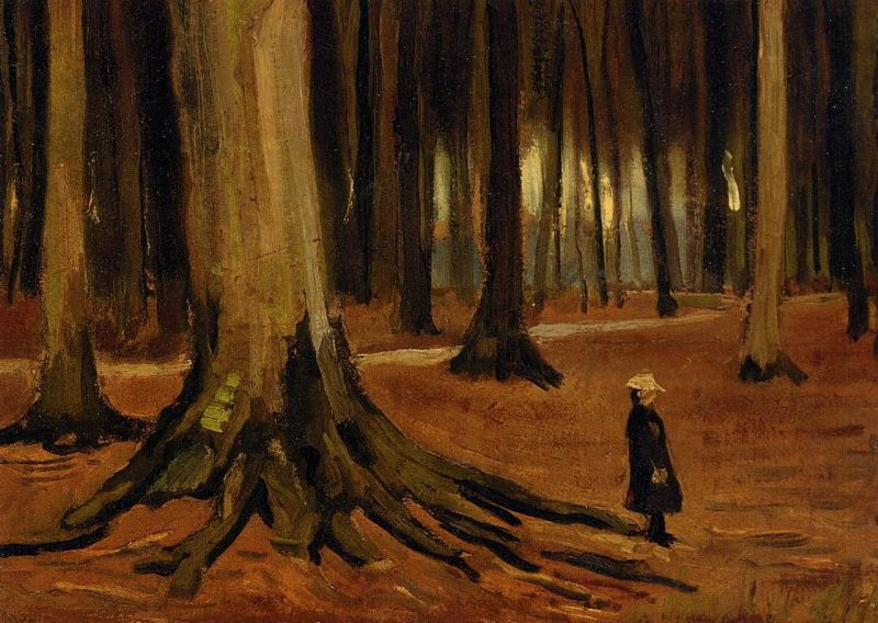 Girl in the Woods. Vincent van Gogh. Download painting.