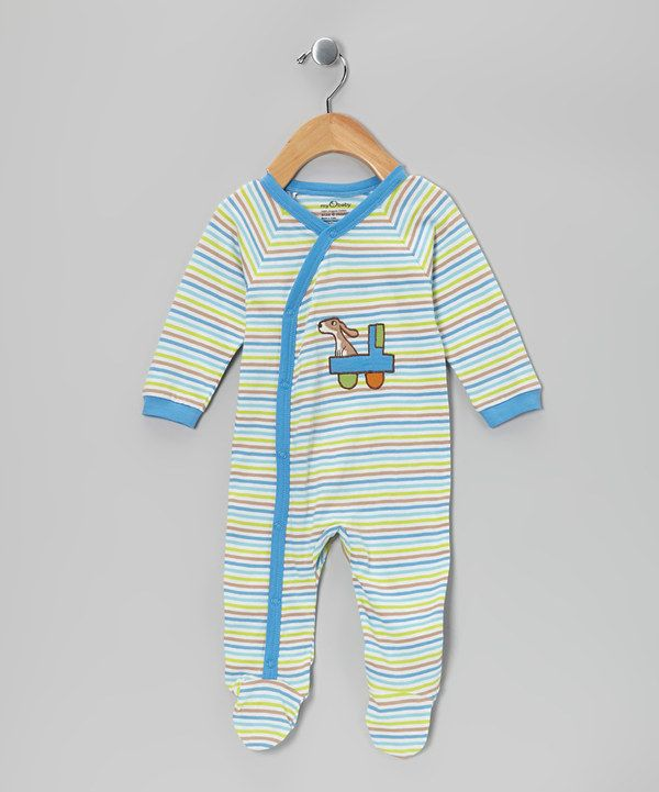 Look at this My O Baby Blue Truck Stripe Organic Footie - Infant on #zulily today!