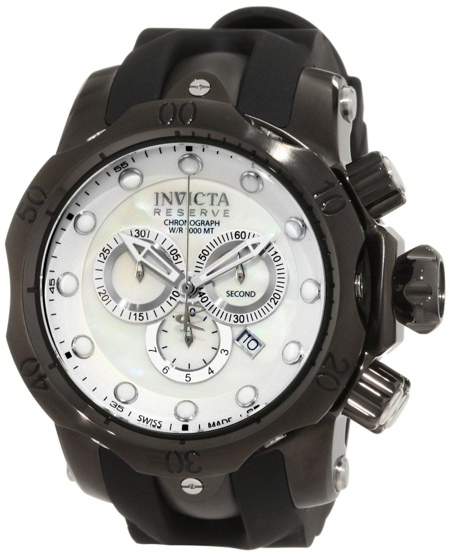 Invicta Men's 1219GMBBB Venom Reserve Ocean Quest Chronograph White Mother-Of-Pearl Black Polyurethane Watch