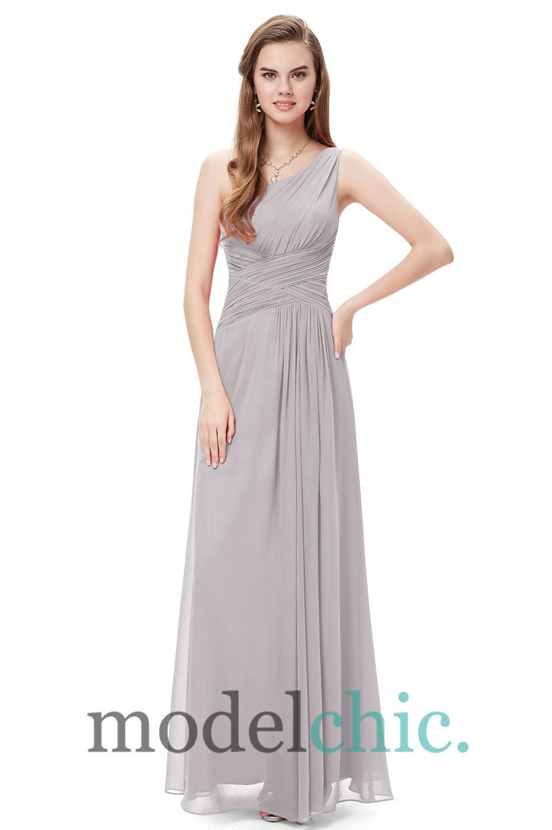 Alexandra one shoulder split bridesmaid dress in colours model