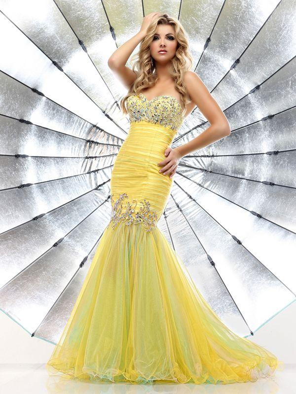Trumpet Prom Dresses Light Yellow