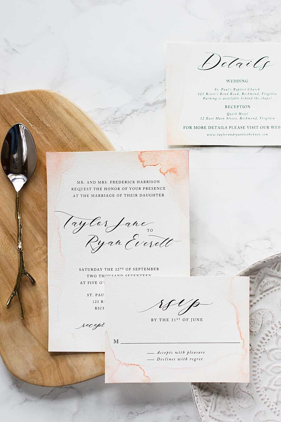 How to paint your own watercolor wedding invitations on a budget and ...