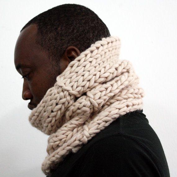 Cream snood, Alpaca wool cowl, Chunky Knit Cowl, Infinity scarf ...