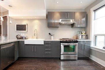 Dark Grey Contemporary Gloss Kitchen With Flat Cabinets And White