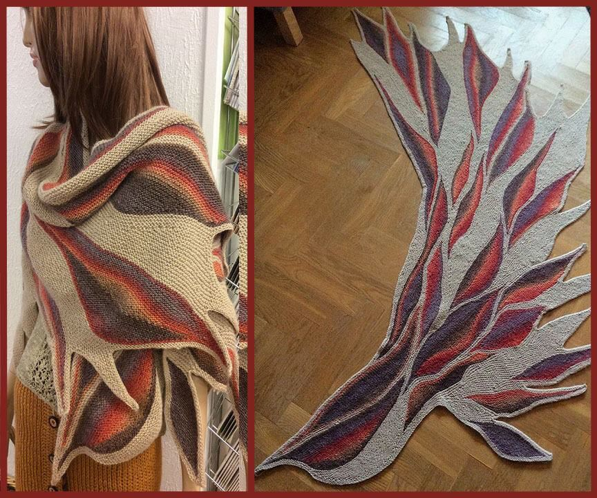 This is a shawl I made called Phoenix wing, pattern found on ravelry ...