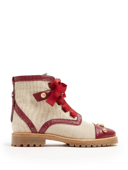 Santiago canvas and leather ankle boots Rue St. aqrG8l
