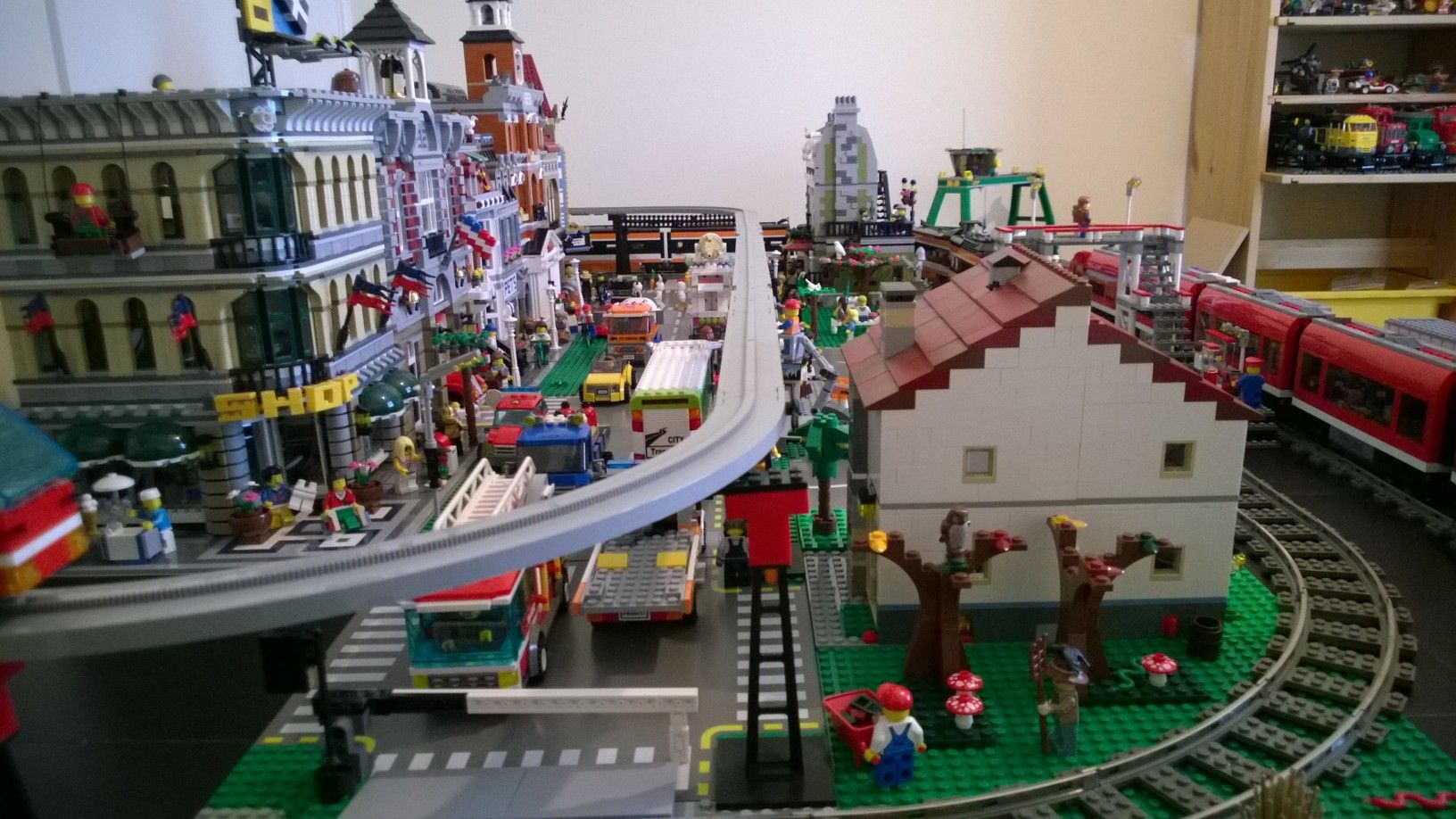 My small town and train layout - LEGO Town | Lego city ...