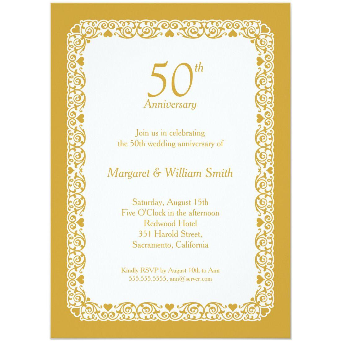 Elegant lace wedding anniversary invitation Custom Colors | Wedding ...