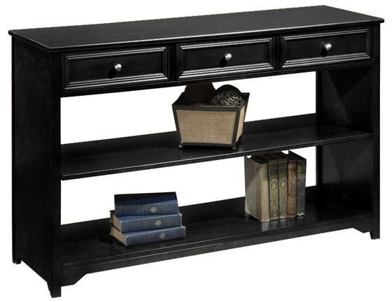 black console table with storage. Oxford Three-Drawer Sofa Console Table With Open Storage Black By Home Decorators Collection Pinterest