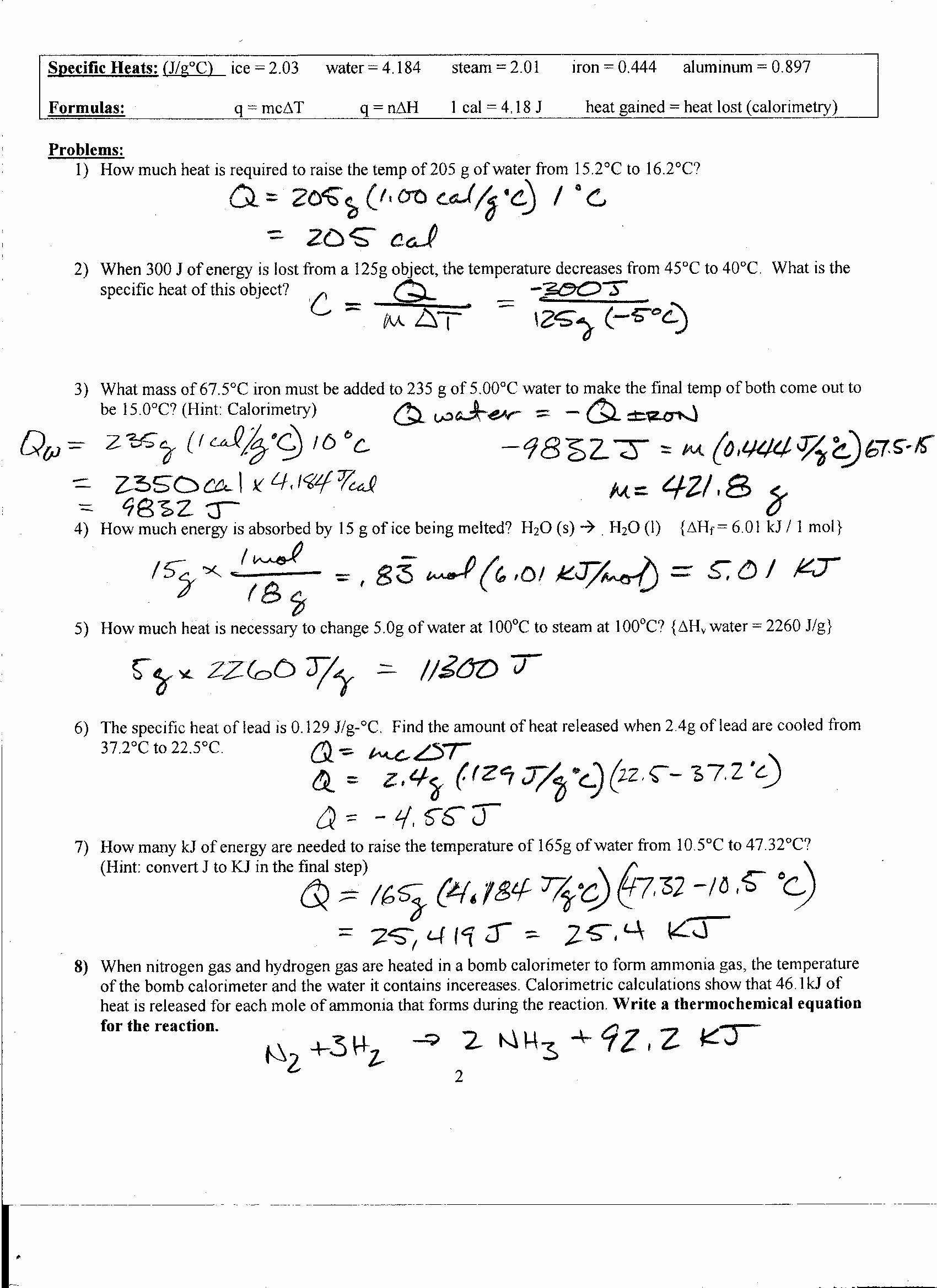 Calorimetry Worksheet Answer Key Luxury Foothill High