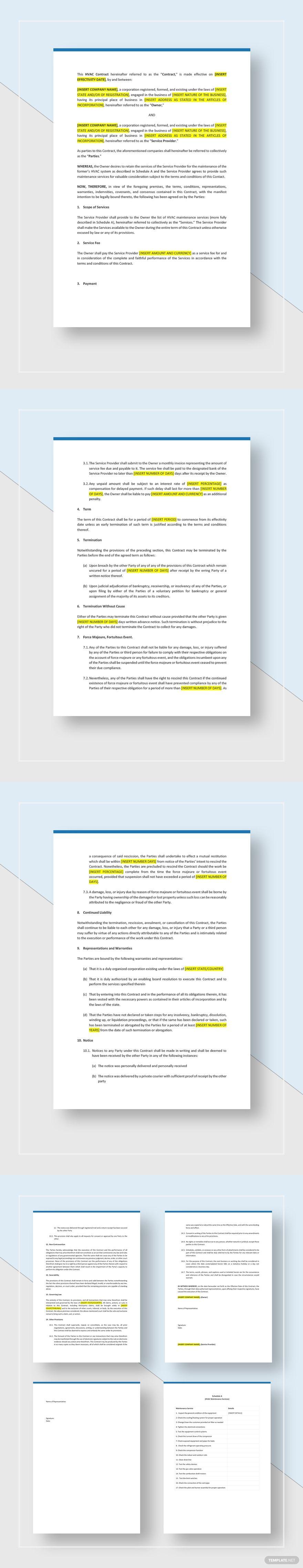 Hvac Service Contract Template Word Doc Google Docs Apple Mac Pages Hvac Services Contract Template Hvac Maintenance