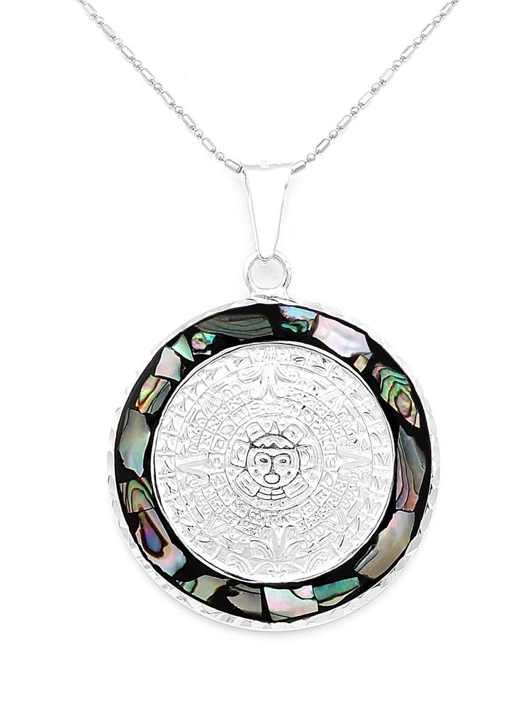 Mesoamerican silver natural abalone aztec calendar pendant jewelry mesoamerican silver natural abalone aztec calendar pendant jewelry taxco mexico handmade azteccalendar aloadofball Images