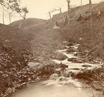 C A BECKFORD SALEM MASS STEREOVIEW THE BROOK OLD HOME OF WHITTIER HAVERHILL