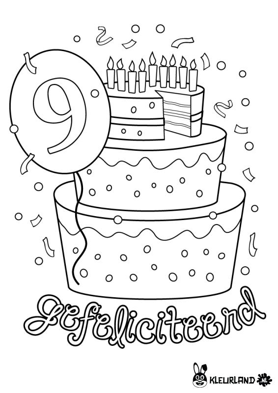 Verjaardagstaart 9 Jaar Onderwijs Kleurplaten
