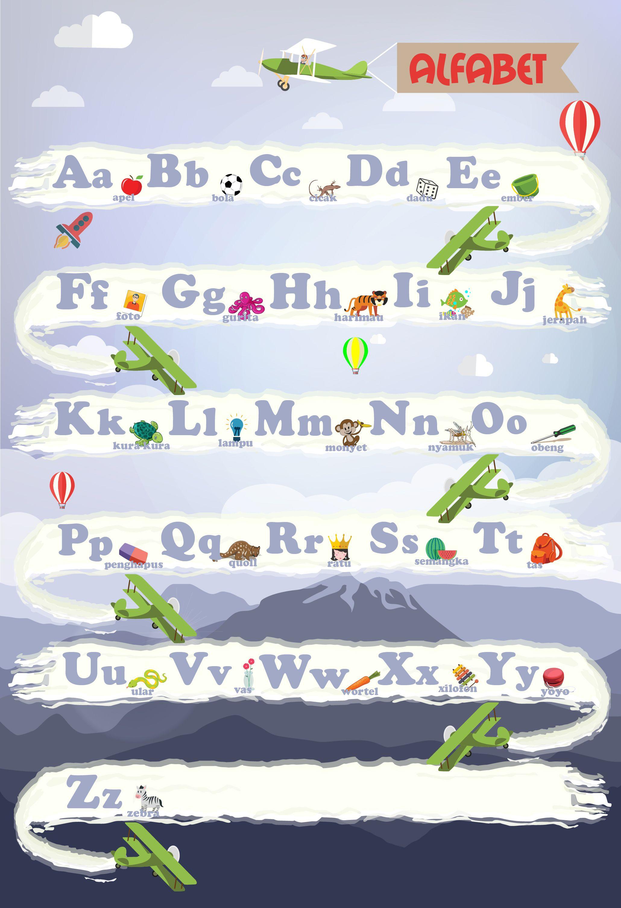 Indonesia Kids Alphabetic Poster Poster Alphabet Kids Vector Learning Fun Alphabet Jerapah Poster