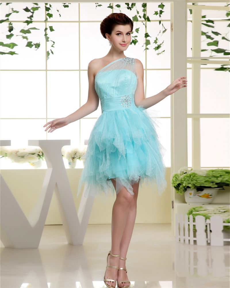 0fc90304594 osell wholesale dropship Sloping Neckline Sleeveless Thigh Length Beading  Tulle Silk Woman Cocktail Prom Dress  66.41