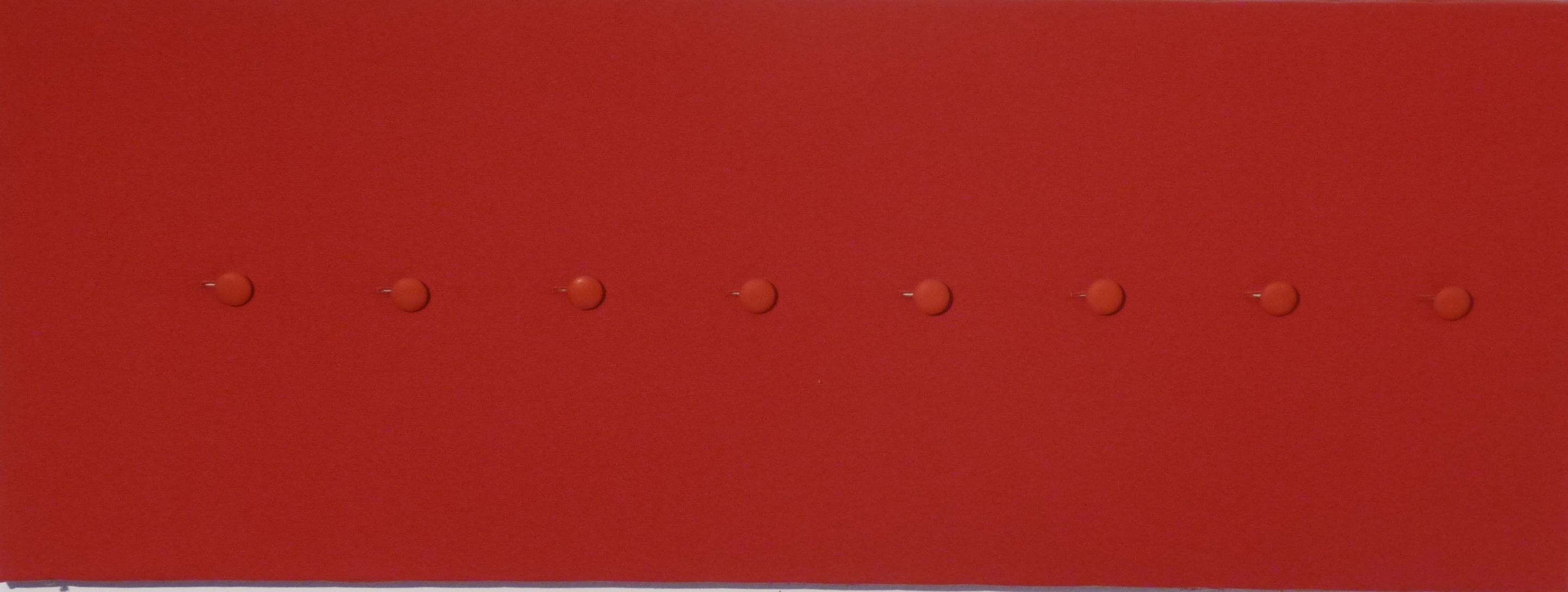 Red buttons  buttons on cloth, 120x 40  private collection