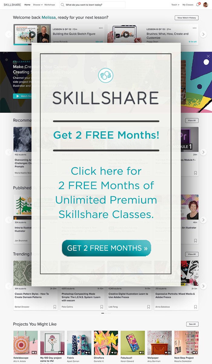 Get 2 FREE months of unlimited Skillshare classes when you