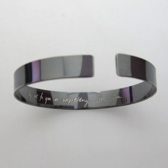 Actual Handwriting Engraved Bracelet Custom Text Personalized Cuff