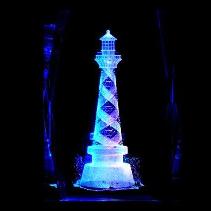 Amazon Com 3d Lighthouse Laser Etched Crystal 3 Inch Battery Powered Display Light Base Please Read Item De Laser Etched Glass Light Display Laser Etching