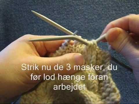 At strikke en snoning med hjælpepind - Lær at strikke PaaPinden.dk - YouTube