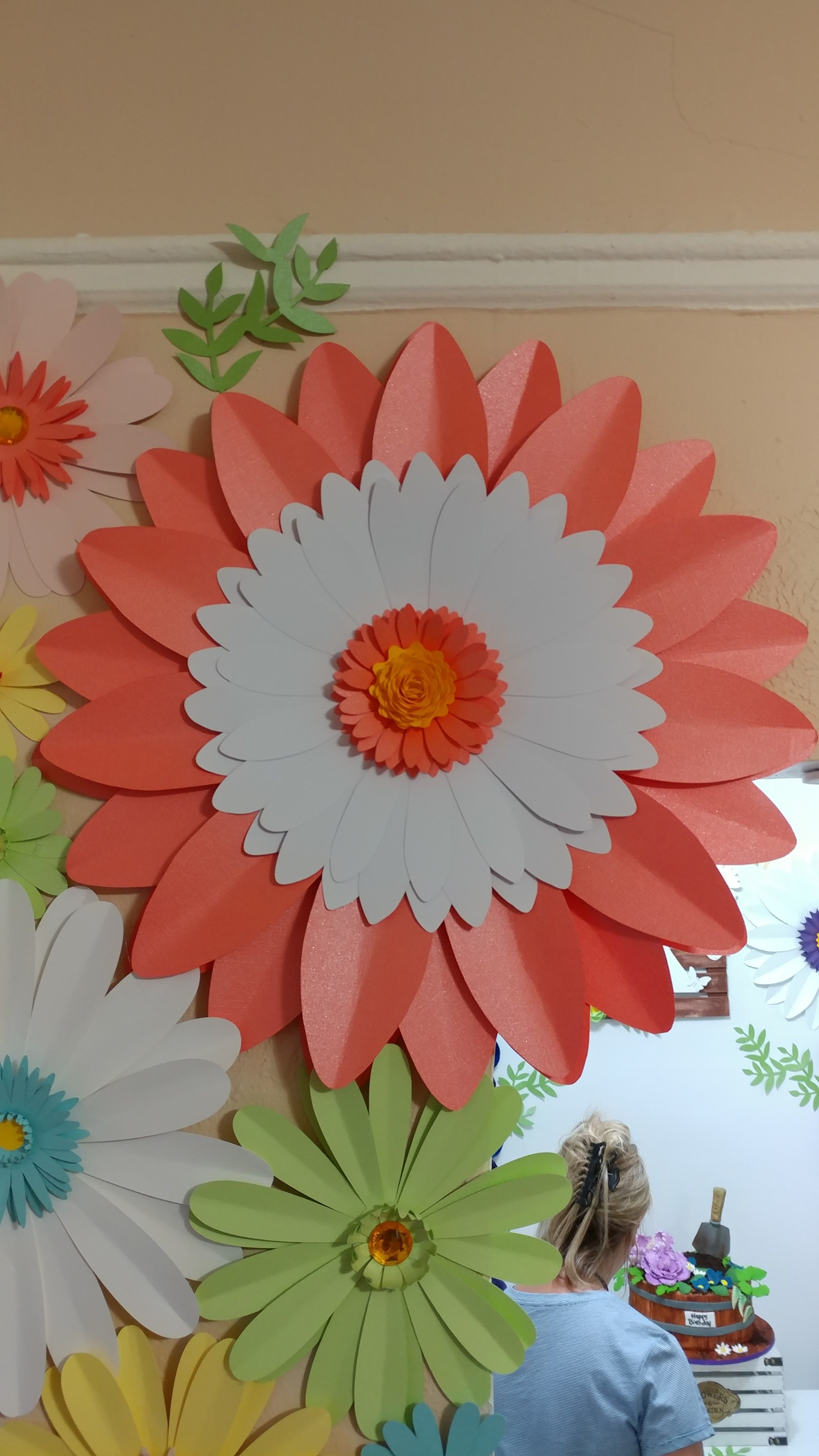 Large Huge Paper Daisy Flower For House Decor In Coral White And