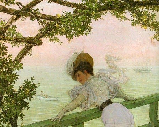 ~ Jan van Beers ~ Belgian painter, 1852-1927: Sul balcone