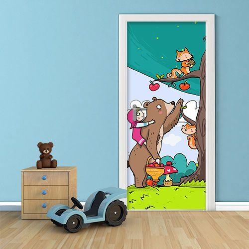 Pt0148 wall stickers adesivi murali porte decorate porta masha e orso 100x210 idee casa - Porte decorate adesivi ...