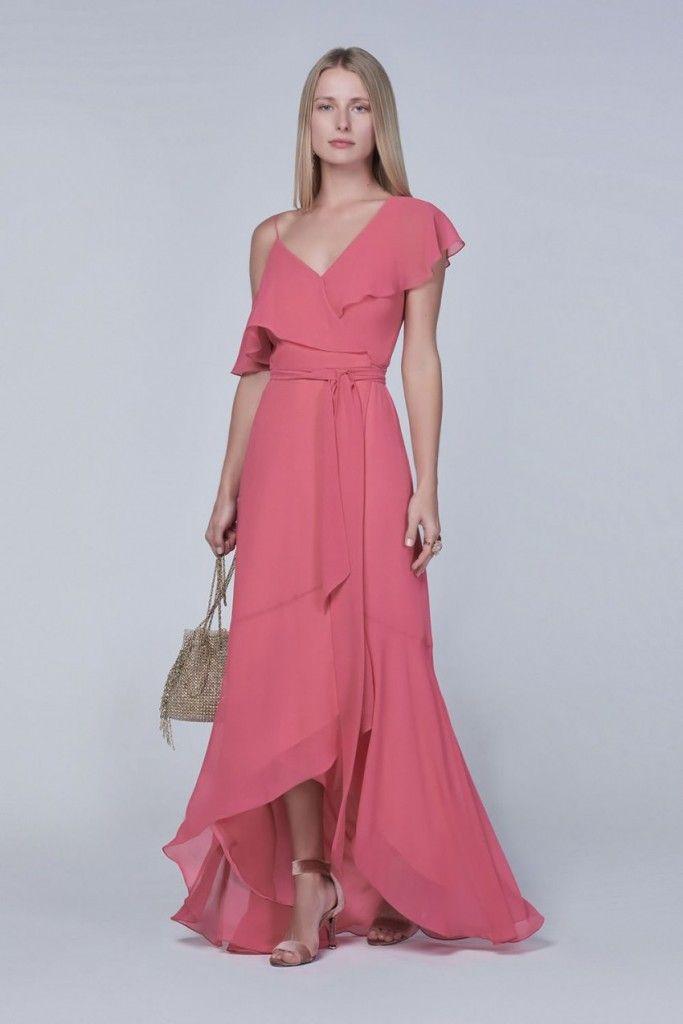 vestido longo com babado, vestido casual, convidada de casamento ...