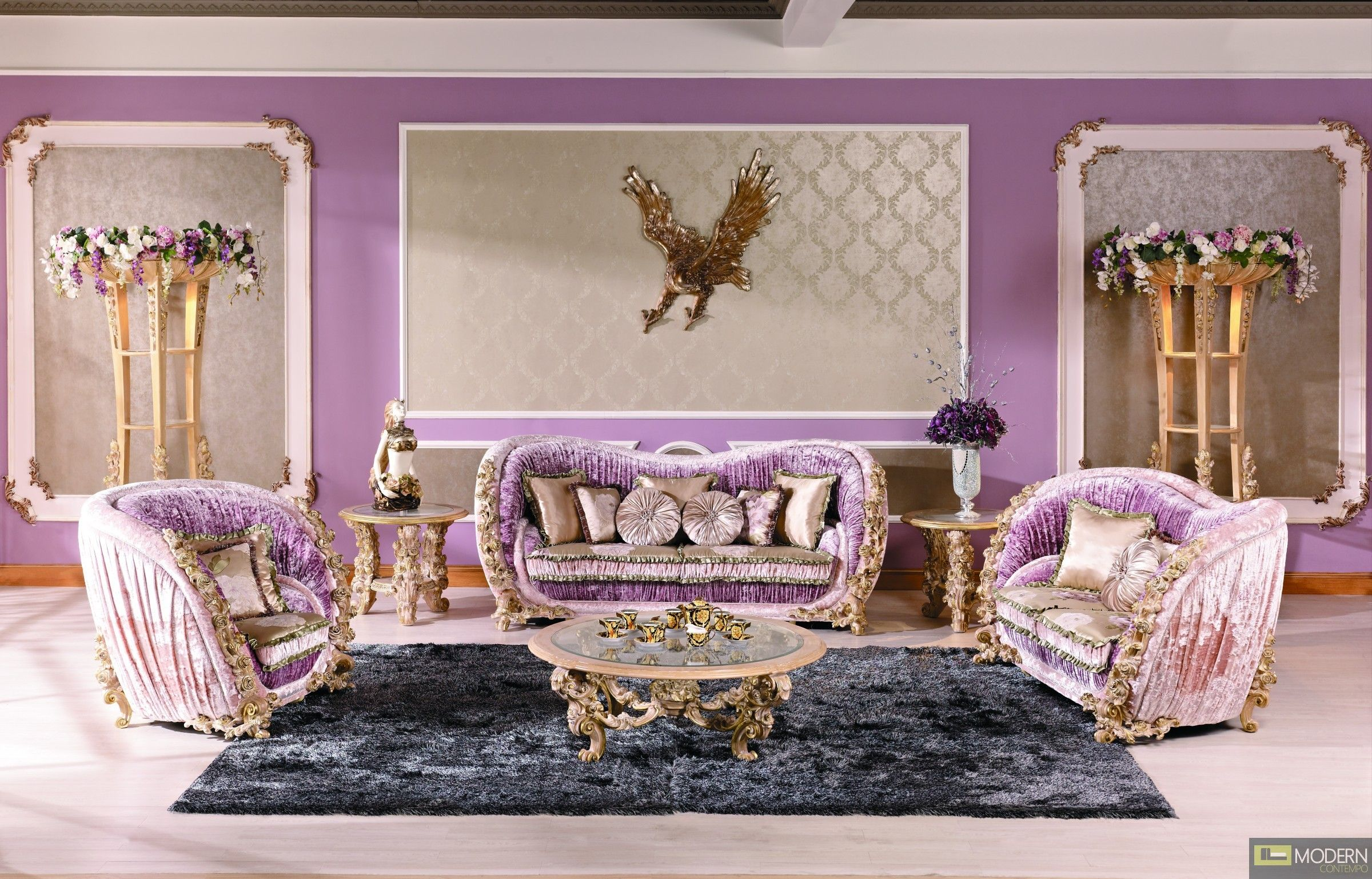 silver glass living room furniture%0A Pink  u     purple luxury sofa and living room set  http   moderncontempo