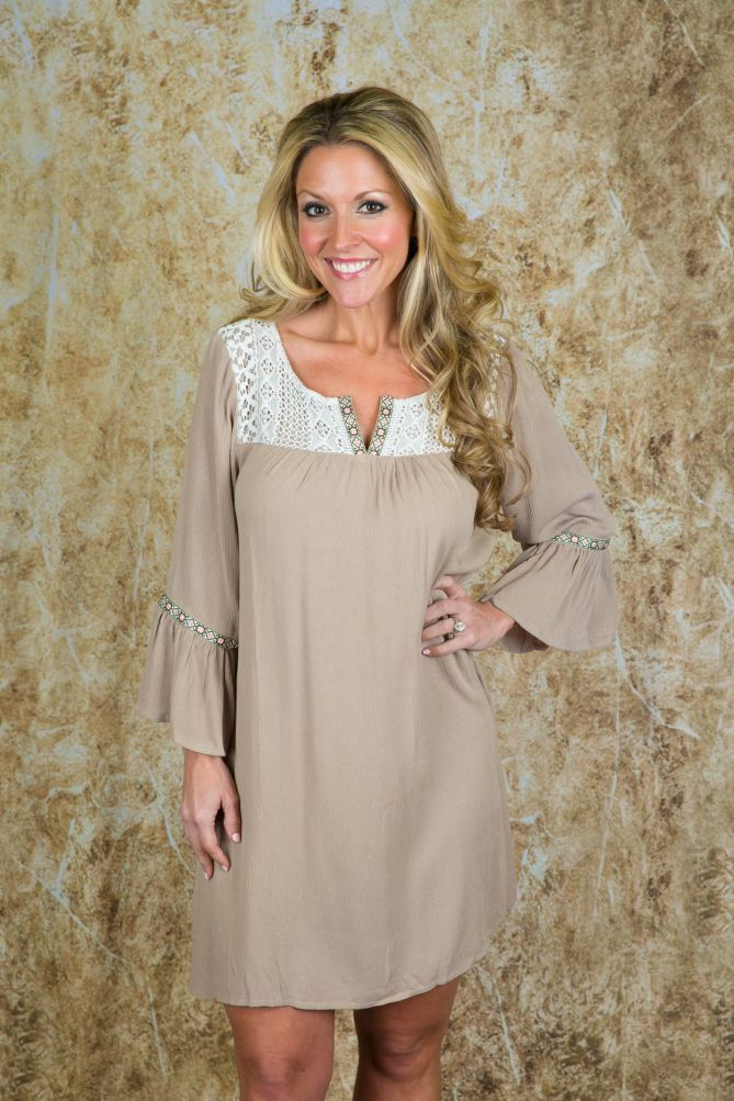 Pink Coconut Boutique | Grateful In My Lace Dress - Mocha