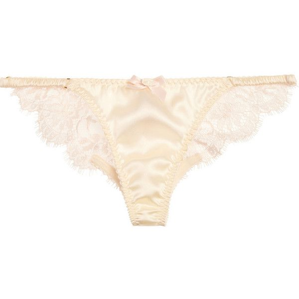 Abbey satin and lace briefs (€59) ❤ liked on Polyvore featuring intimates, panties, lingerie, underwear, lace panty, underwear panties, agent provocateur panties, lacy lingerie and lacy panties