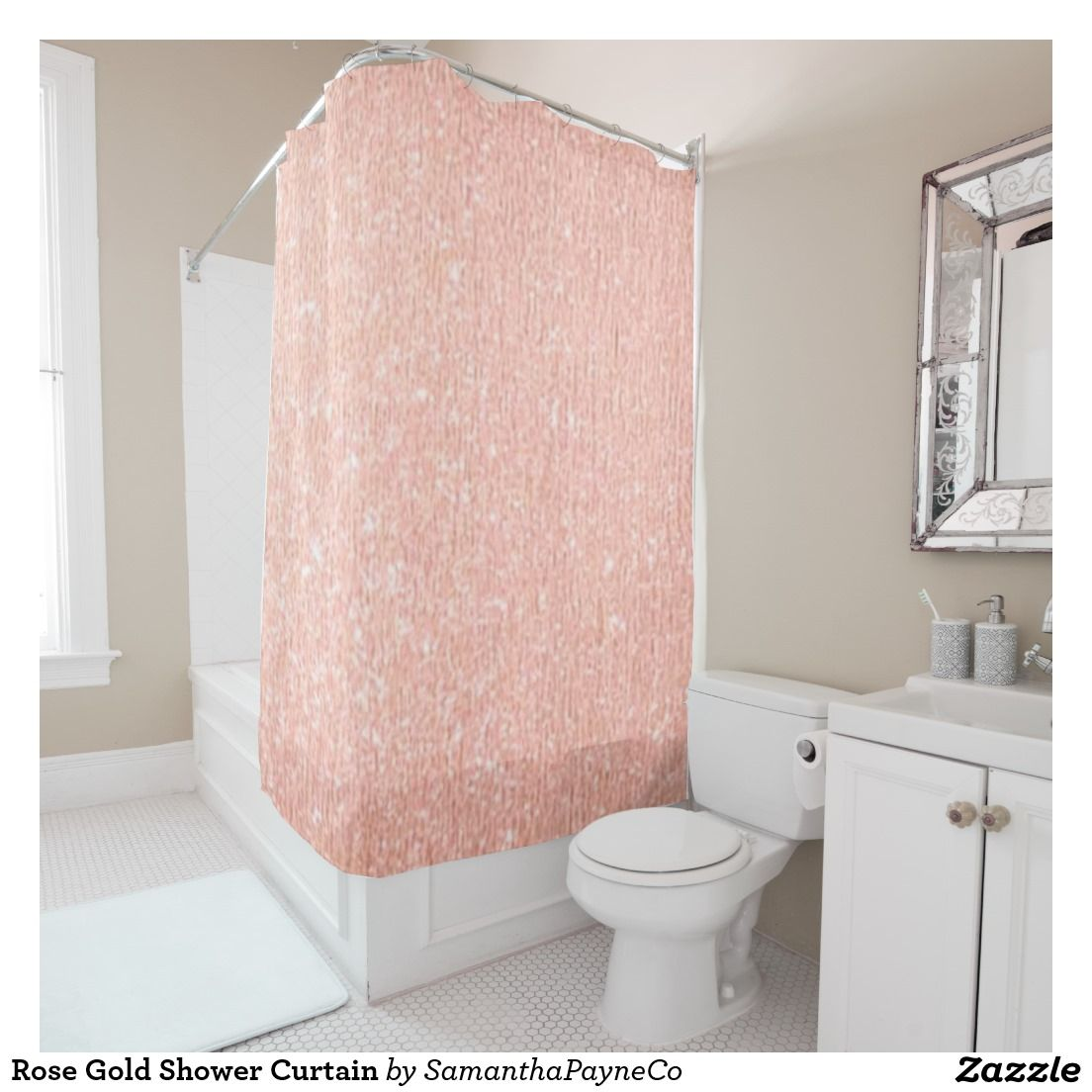 Rose Gold Shower Curtain | Gold shower curtain, Decorating and Gold