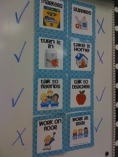 great idea    It can be soooo time consuming to answer the questions...Can we use markers?, Do we turn this in?, Is this a talking activity? I love using these assignment choice signs to answer those questions without me doing the work.  Once I give directions for an activity, I quickly place checks and X's by the cards and my students know exactly where to look for the answer. (CREATE on SMARTboard)