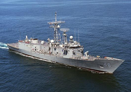 Oliver Hazard Perry Class guided missile frigate USS RENTZ (FFG 46).