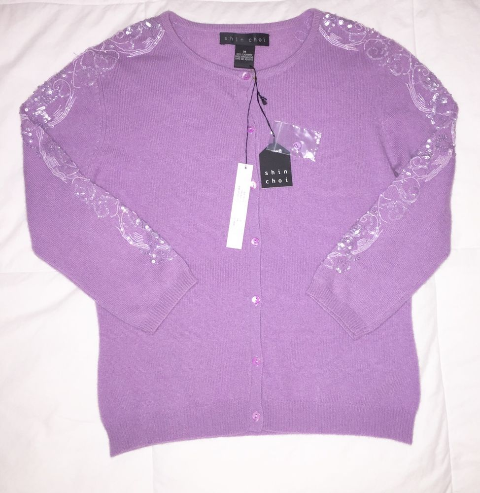Shin Choi Light Purple 100% Cashmere Cardigan Sweater Size Medium ...