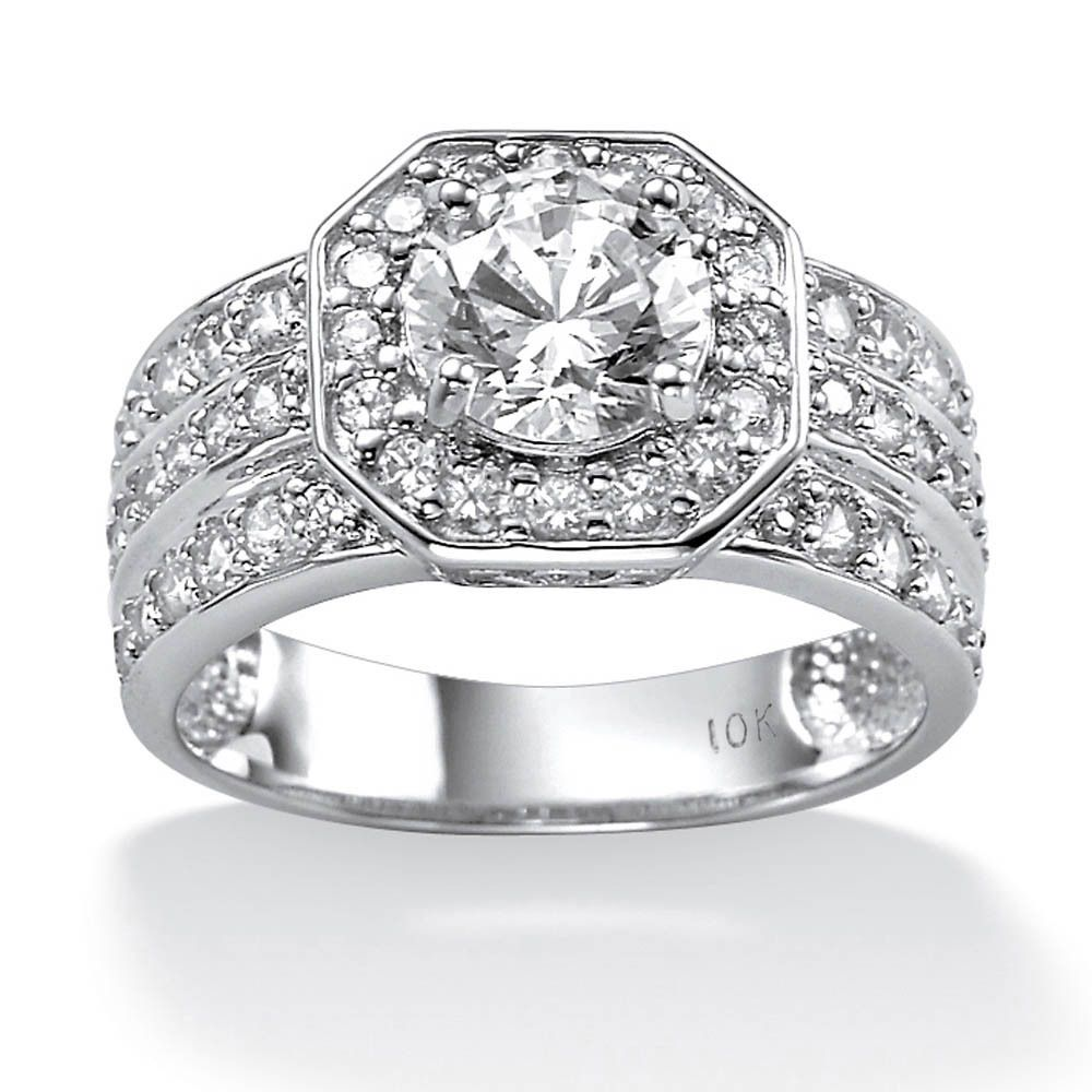 10K White Gold Cubic Zirconia Octagon Engagement Ring