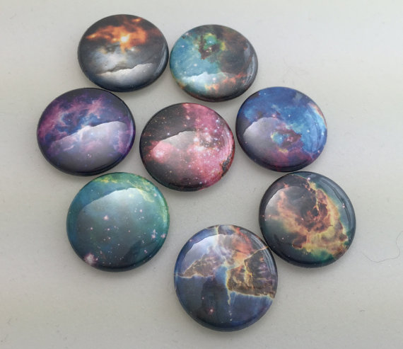 Galaxy Nebula Pin Back Button Badge 1 inch by BeadConfettiJewelry