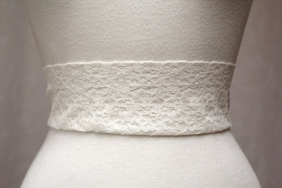 Simple Ivory Lace Wedding Sash/ Handmade Accessory/ by SunnyApril, $15.00