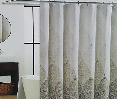 Cynthia Rowley Stamped Ombre Fabric Shower Curtain In Shades Of Khaki, Tan,  Mocha On
