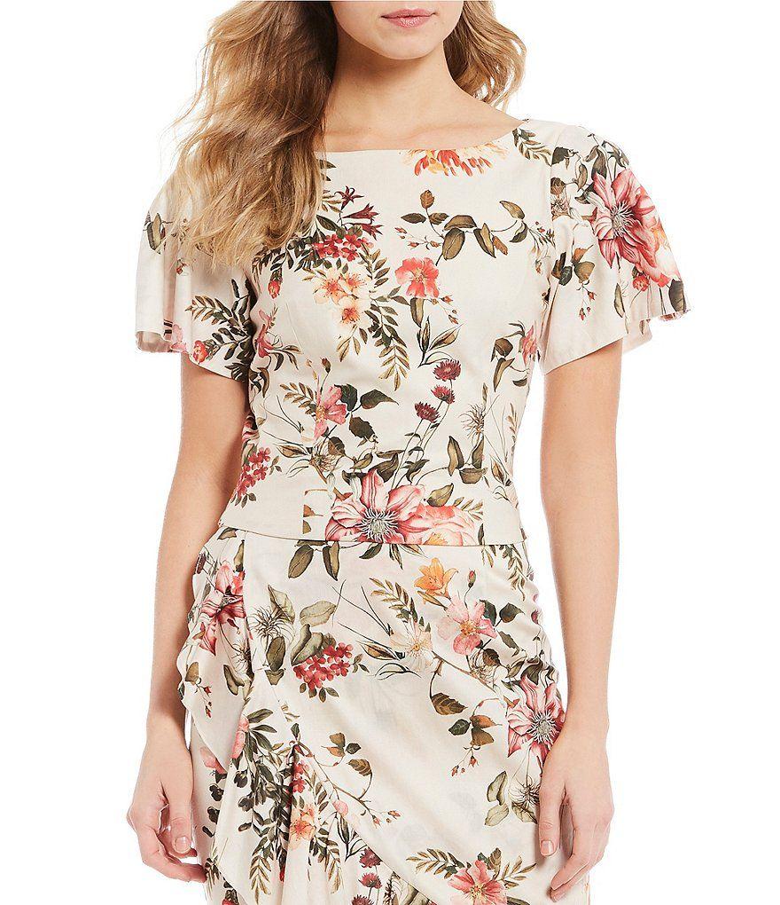 1ebc72516c5b60 Antonio Melani Diann Floral Print Puffed Flutter Sleeve Blouse in ...