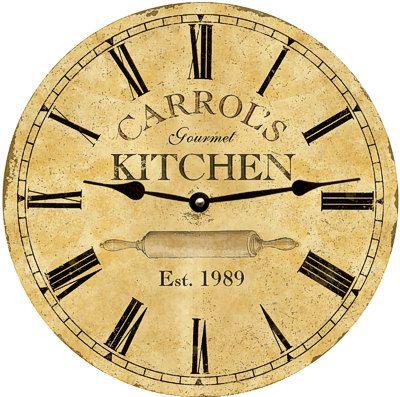 Kitchen Clock Personalized Kitchen Clock Etsy Kitchen Clocks Personalized Wall Clock Kitchen Wall Clocks