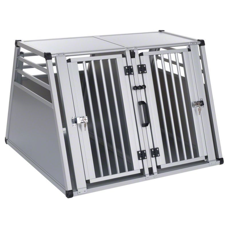 Double Dog Crate Large Dogs Aluminium Pet Carrier Transport Cage Travel Kennel Dog Cages For Sale Dog Cages Double Dog Crate
